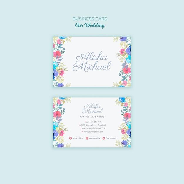 Cartão de visita de conceito de casamento colorido Psd grátis