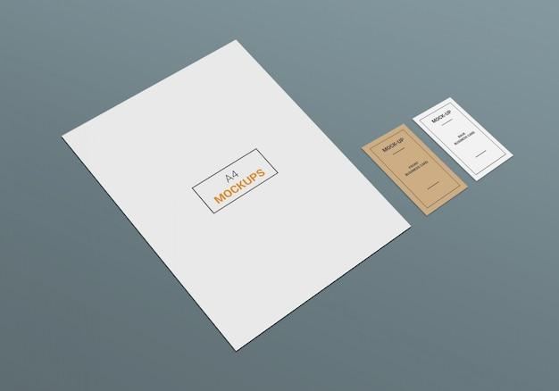 Cartão de visita e mock-up de página a4 Psd Premium