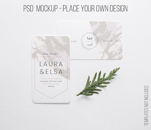 Cartão de visita horizontal e vertical com composição em miniatura Psd grátis