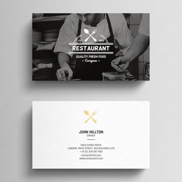 Cartão de visita mínimo do restaurante Psd grátis