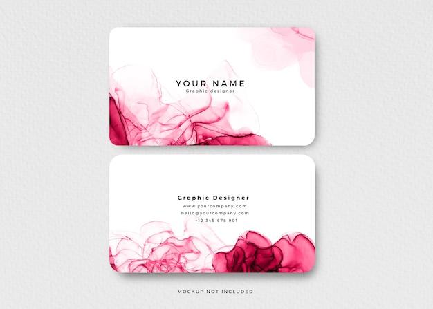 Cartão de visita moderno com tinta alcoólica rosa Psd grátis