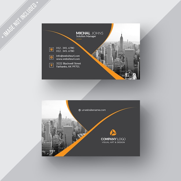 Cartão de visita preto com detalhes em laranja Psd grátis