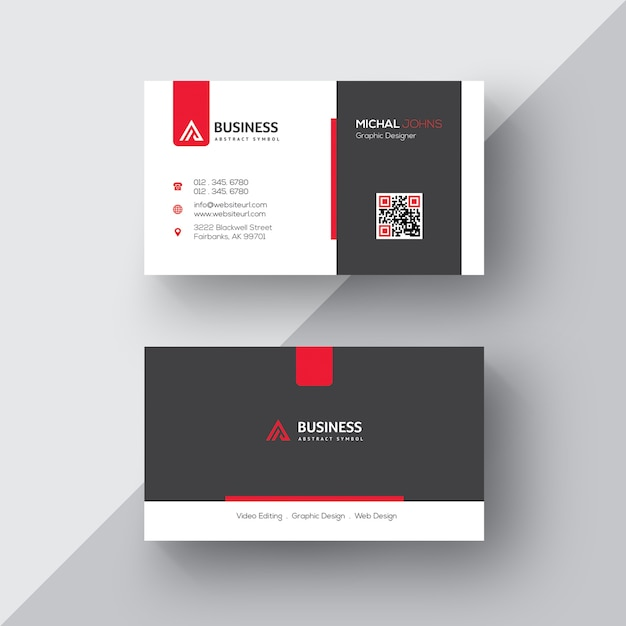 Cartão de visita preto e branco com detalhes vermelhos Psd grátis