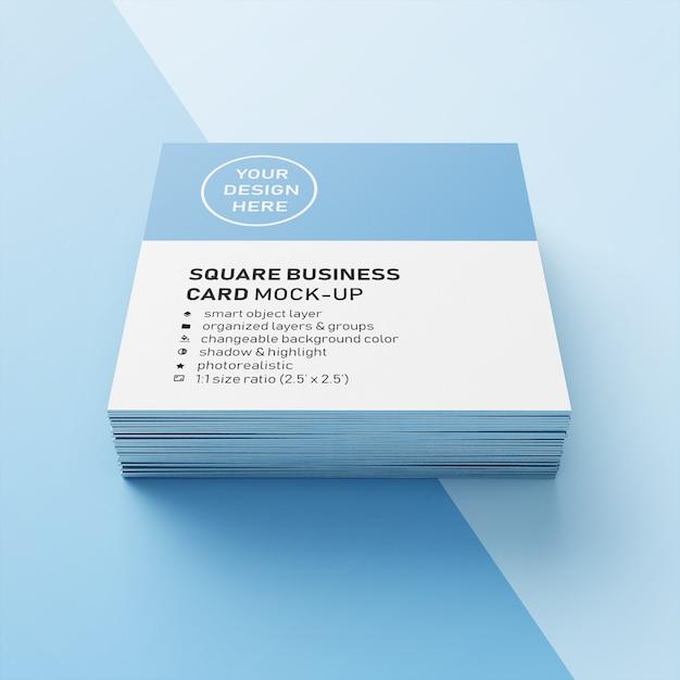 Cartão de visita quadrado empilhado realístico editável de 90x50 milímetro com modelo afiado do projeto da zombaria acima do canto na vista dianteira Psd Premium