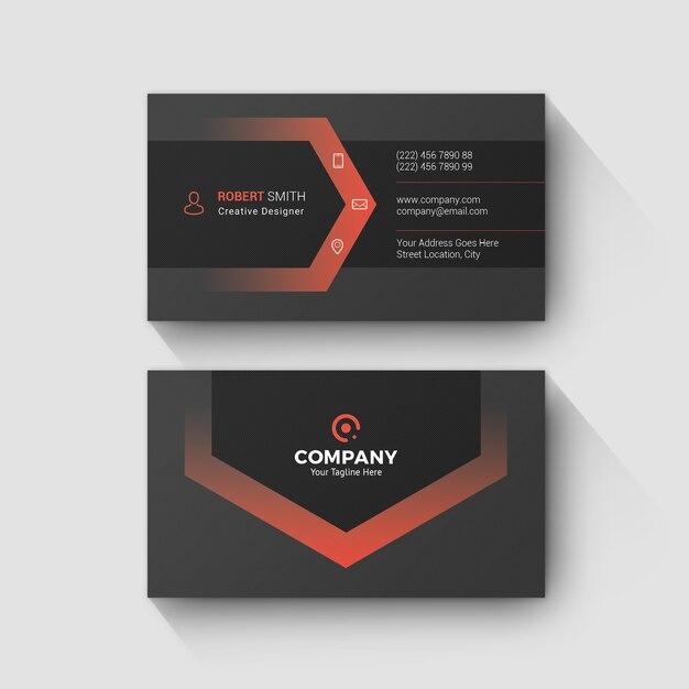 Cartão de visita vermelho mínimo Psd Premium
