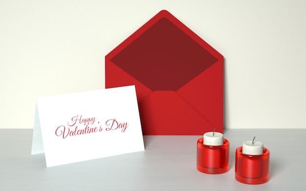 Cartão do dia dos namorados com velas Psd grátis