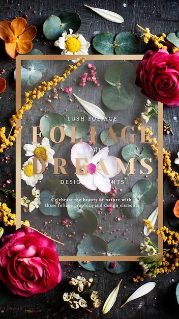 Cartão estampado floral Psd Premium