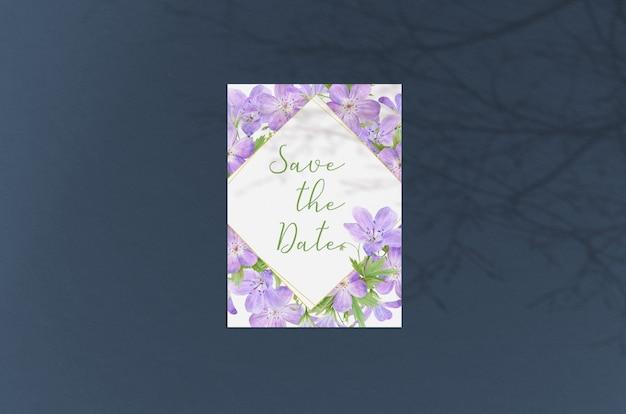 Cartão moderno e elegante ou convite de casamento mock up Psd Premium
