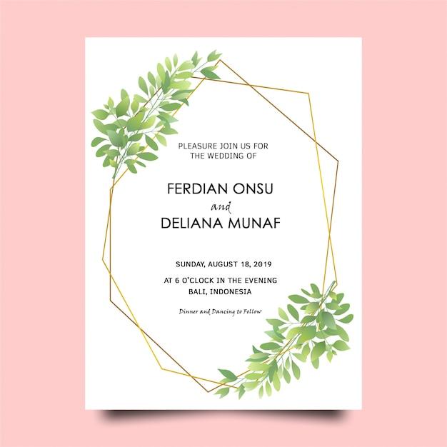 Cartão verde do convite do casamento do quadro da folha Psd Premium