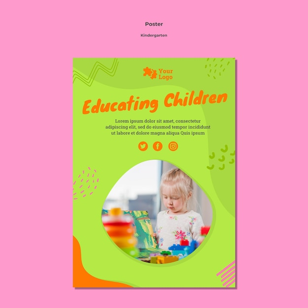 Cartaz a4 do jardim de infância com foto Psd grátis