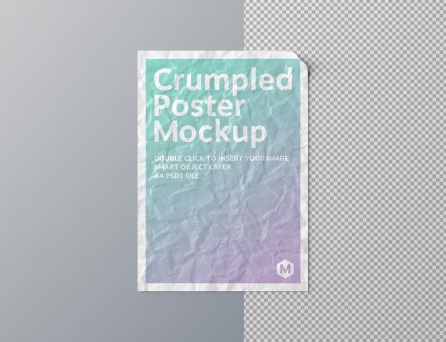 Cartaz amassado cortado na superfície cinza mockup Psd Premium