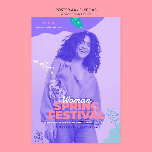 Cartaz com conceito de festival de primavera de mulher Psd grátis