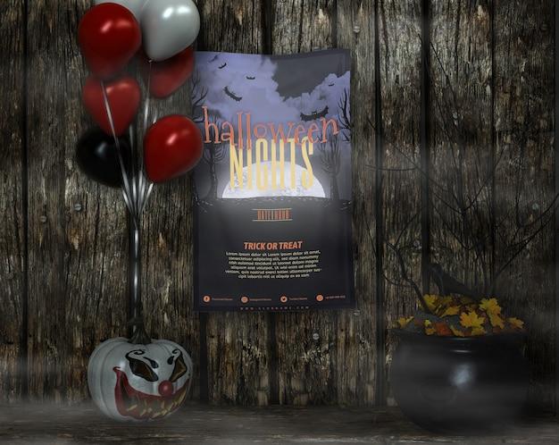 Cartaz com mock-up de noites de halloween e balões Psd grátis
