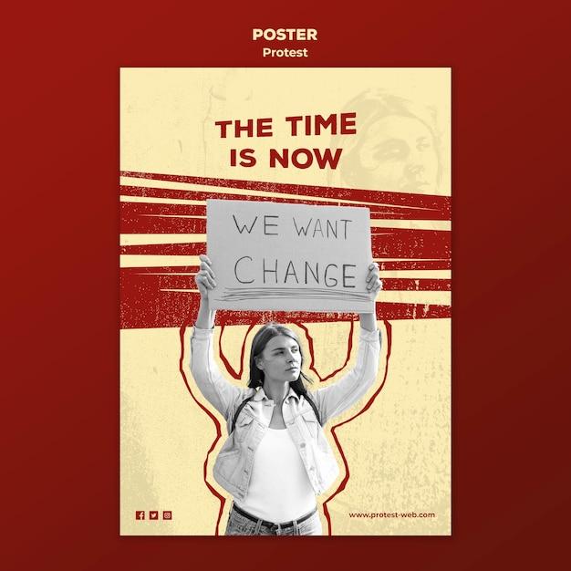 Cartaz com protestos pelos direitos humanos Psd grátis