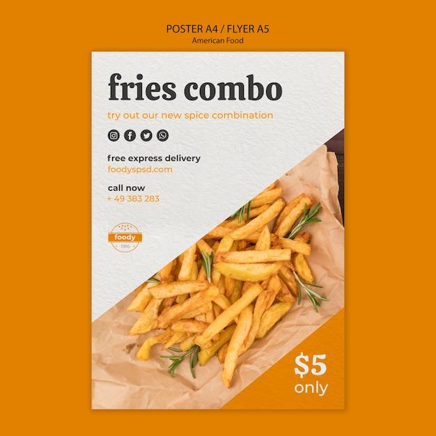 Cartaz combinado americano do fast food e das batatas fritas Psd grátis