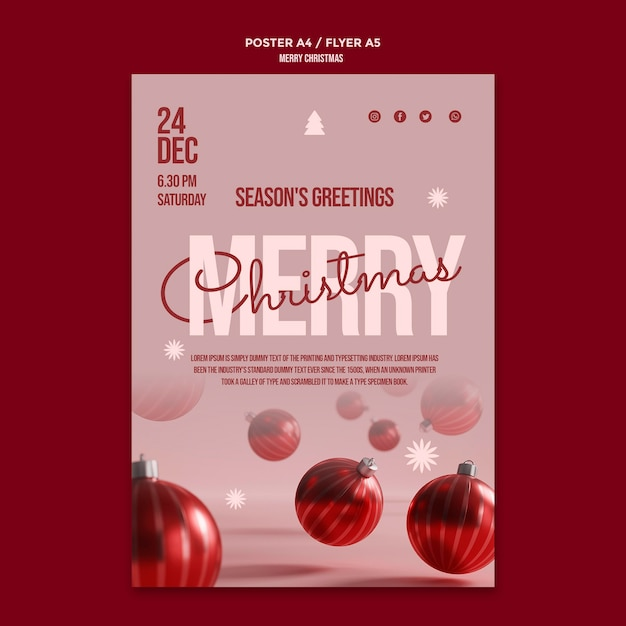 Cartaz da festa de feliz natal com globos Psd grátis