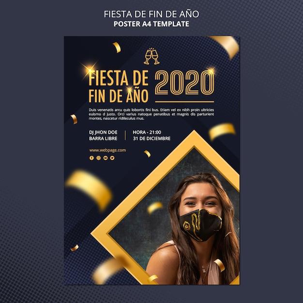 Cartaz de celebração da fiesta de fin de ano 2020 Psd Premium