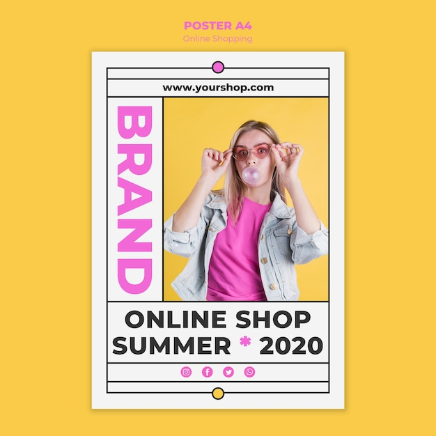 Cartaz de compras on-line de verão Psd grátis