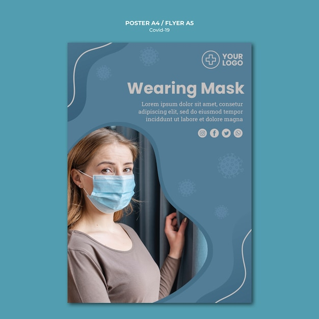 Cartaz de conceito de coronavírus de máscara Psd grátis