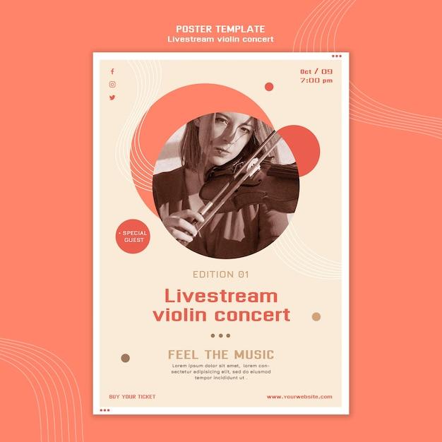 Cartaz de concerto de violino com transmissão ao vivo Psd grátis