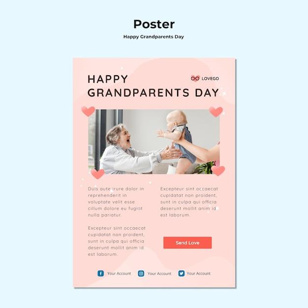 Cartaz de dia dos avós feliz Psd grátis