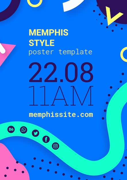 Cartaz de estilo memphis azul plana Psd grátis