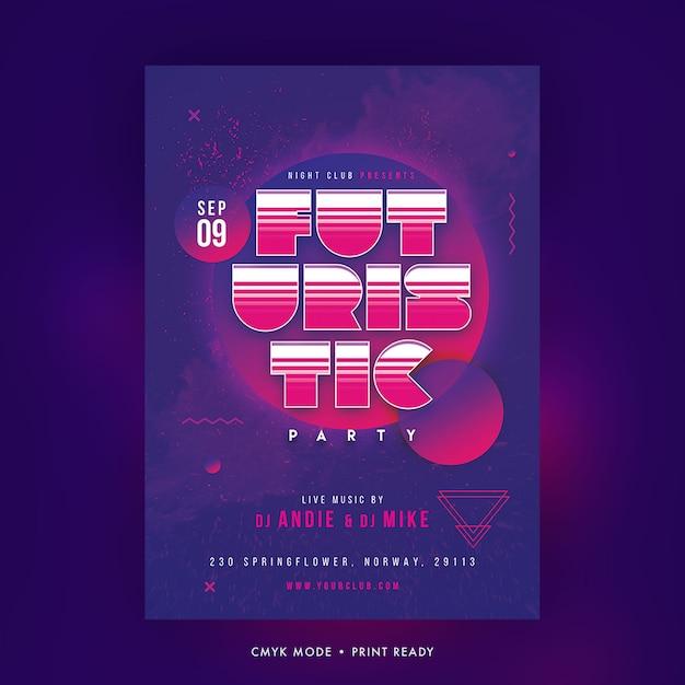 Cartaz de festa futurista Psd Premium
