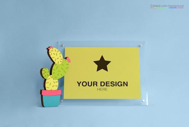 Cartaz de maquete com desenho de cacto Psd Premium