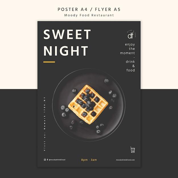 Cartaz de menu de restaurante doce noite Psd grátis