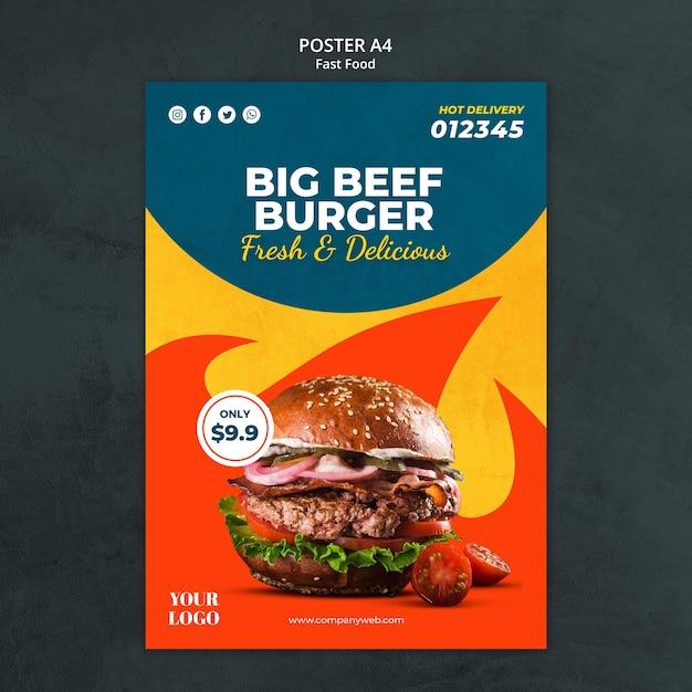 Cartaz de modelo de anúncio de fast food Psd grátis