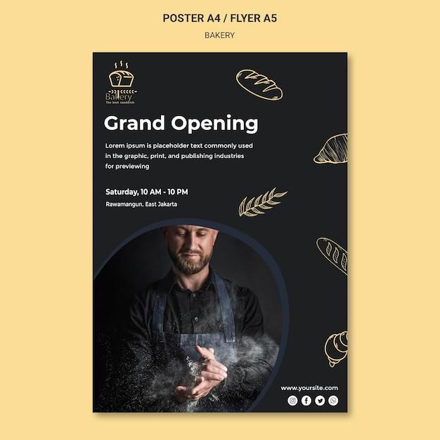 Cartaz de modelo de anúncio de padaria Psd grátis