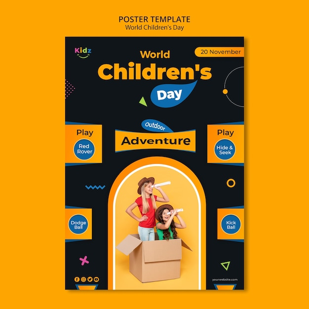 Cartaz de modelo de anúncio para o dia das crianças Psd grátis