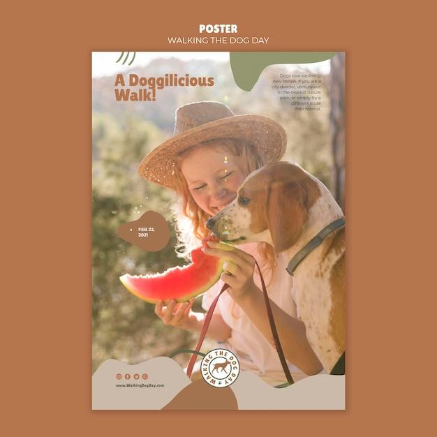 Cartaz de modelo de anúncio para passear com o cachorro Psd Premium