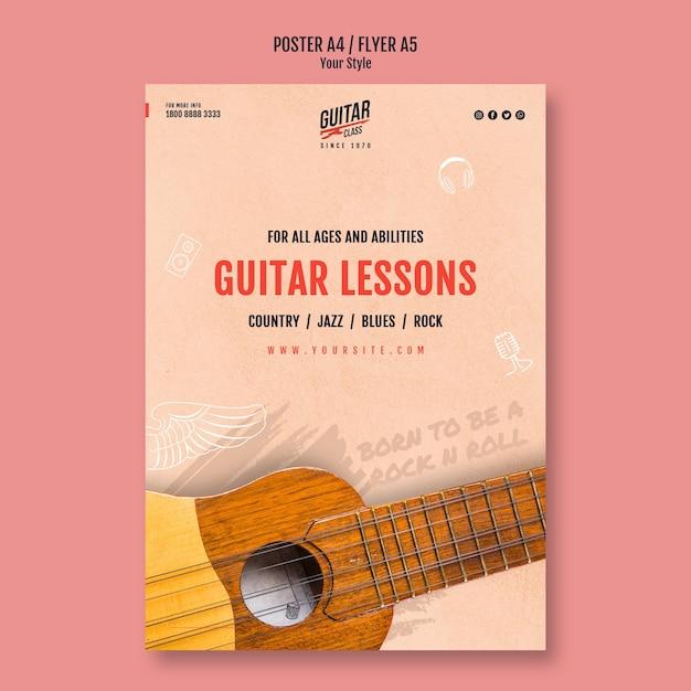Cartaz de modelo de aulas de guitarra Psd Premium