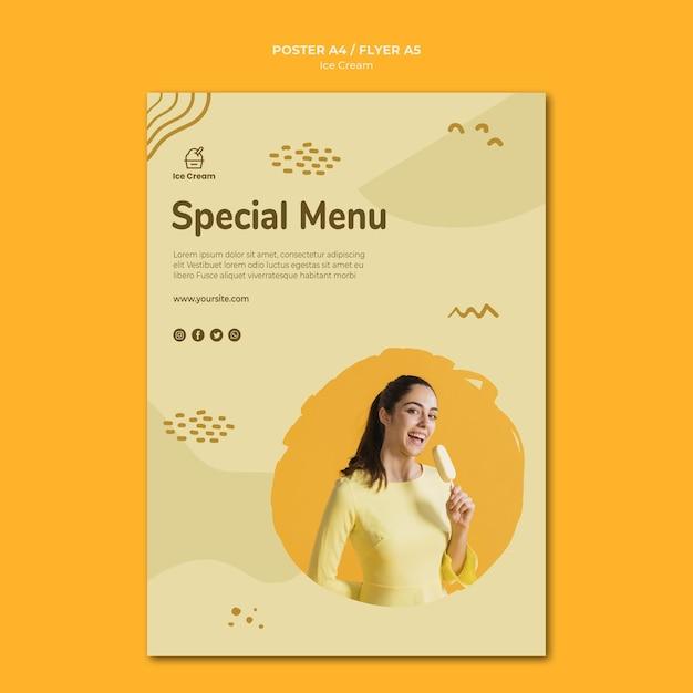 Cartaz de modelo de sorvete Psd grátis