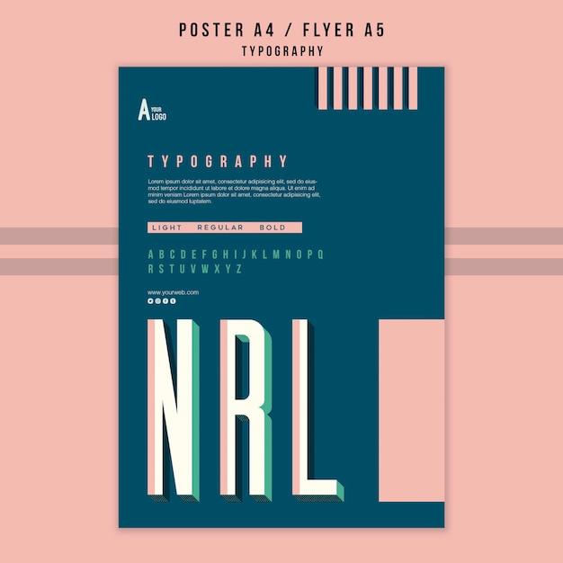 Cartaz de modelo de tipografia Psd grátis