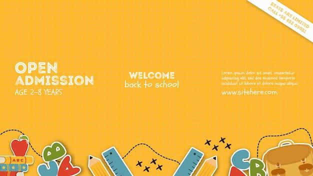 Cartaz de modelo para admissão aberta na escola Psd grátis