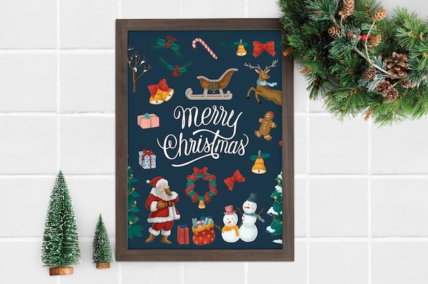 Cartaz de natal feliz em uma maquete de quadro Psd grátis