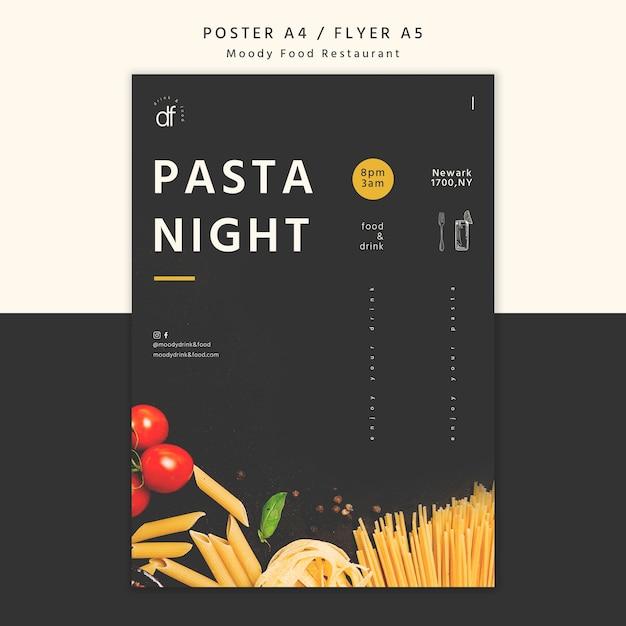 Cartaz de noite de massa de restaurante Psd grátis