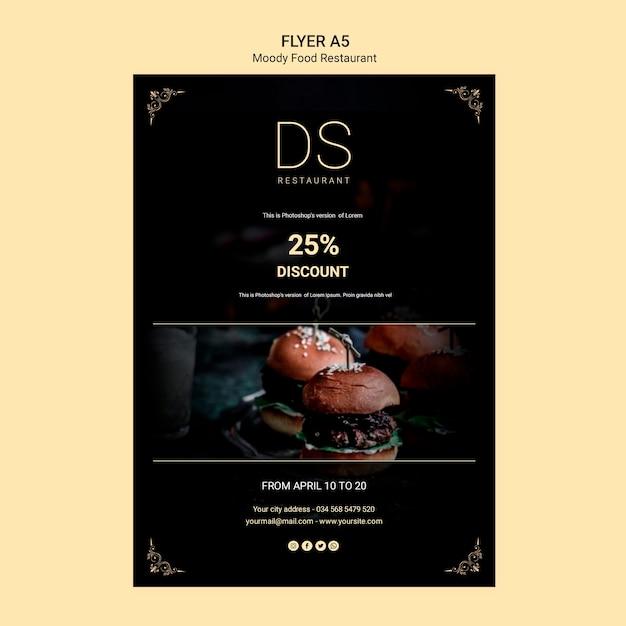 Cartaz de restaurante de comida temperamental Psd grátis