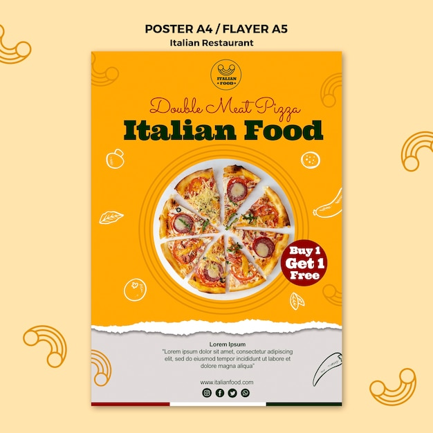 Cartaz de restaurante italiano com oferta Psd grátis