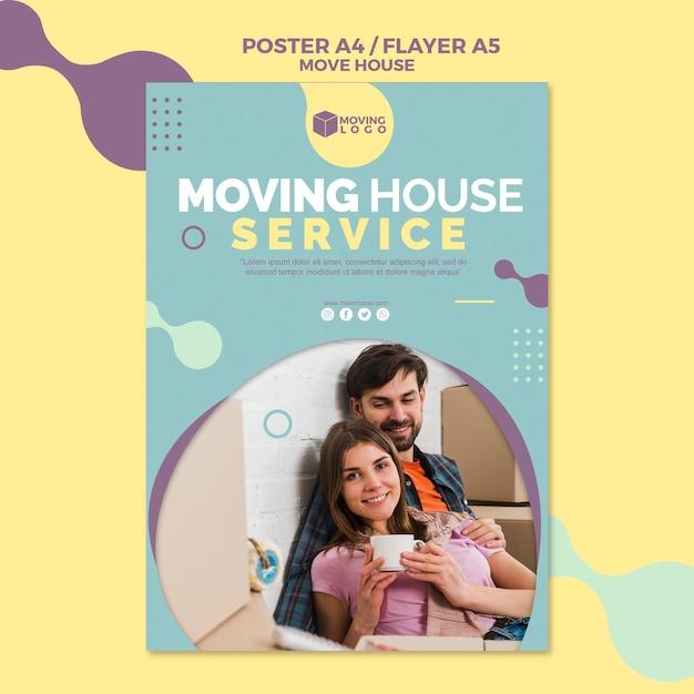 Cartaz de serviço de casa em movimento com casal Psd grátis