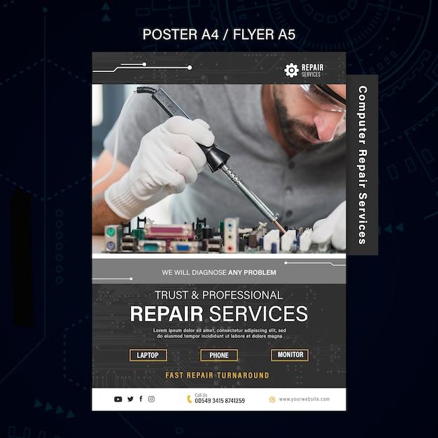 Cartaz de serviços de conserto de computadores e telefones Psd Premium