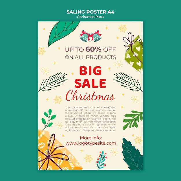 Cartaz de venda de natal com descontos Psd grátis