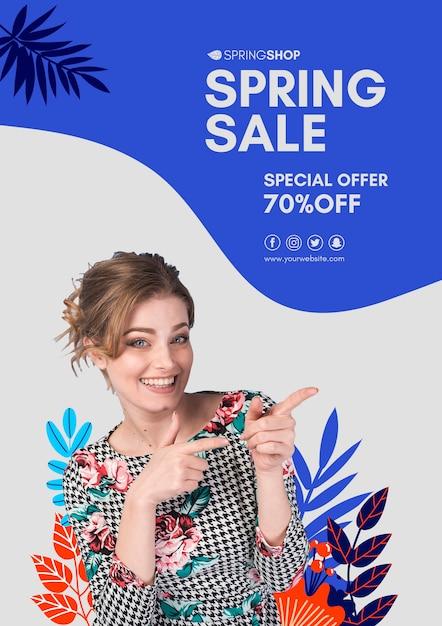 Cartaz de venda de primavera apontando mulher Psd grátis