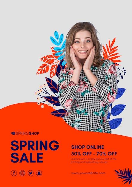 Cartaz de venda de primavera de mulher sorridente Psd grátis