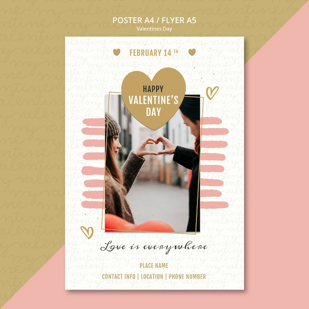 Cartaz do conceito de dia dos namorados Psd grátis