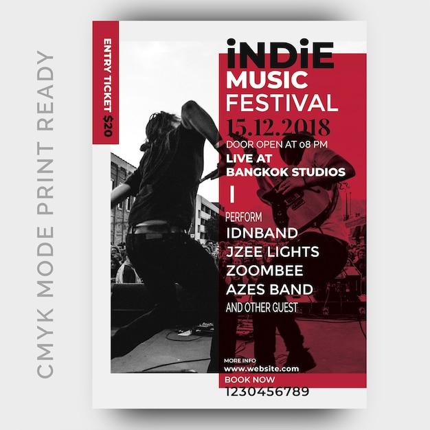 Cartaz do festival de música. modelo de design de folheto Psd Premium