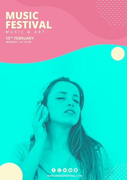 Cartaz festival de música com formas abstratas Psd grátis
