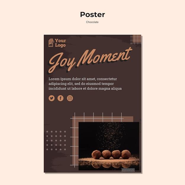 Cartaz modelo de loja de chocolates Psd grátis